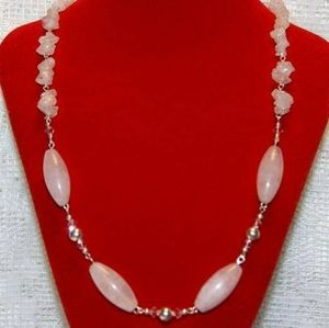 Jewelry - Rose Quartz, Crystal & Sterling Silver Necklace